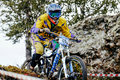 Closeup man rider downhill mountain biking Royalty Free Stock Photo