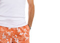 Closeup on man in shorts and t-shirt Royalty Free Stock Images