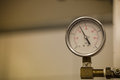 Closeup of manometer, measuring gas pressure. Royalty Free Stock Photo