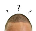 Closeup of mans head with questions. Royalty Free Stock Images