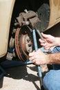 Repairing Front Disc Brakes Royalty Free Stock Photo
