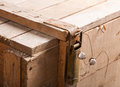 Closeup of metal latch with seal on old wooden chest Stock Photo