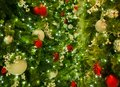 Closeup Of Mixed Christmas Ornaments On Tree With Lights In Frame