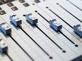 Closeup of mixing board in the recording studio Stock Photo