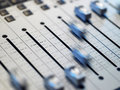 Closeup of mixing board in the recording studio Royalty Free Stock Photos