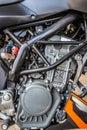 Closeup modern motorcycle engine detail system black Royalty Free Stock Photo