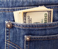 Closeup money pocket Royalty Free Stock Image