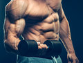 Closeup of a muscular young man lifting dumbbells Royalty Free Stock Photo