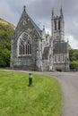 Closeup of Neo-Gothic church at Kylemore Abbey, Ireland. Royalty Free Stock Photo