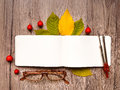 Closeup of notebook, glasses and compass, decorated with autumn yellow leaves and berries. Top view, flat lay Royalty Free Stock Photo