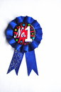 Closeup number one blue ribbon Royalty Free Stock Photo