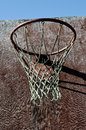 Closeup of old basketball backboard and hoop outdoor Stock Photo