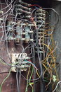 Closeup of old electric box with wiring Royalty Free Stock Images