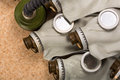 Closeup of old gas masks Royalty Free Stock Photos