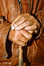 Closeup of old peasant hands Royalty Free Stock Images