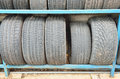 Closeup old tires stacked up on special shelves in storage depot Stock Photography