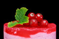 Closeup of one small redcurrant cake decorated with berries Royalty Free Stock Photo