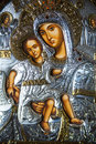 Closeup of an ornate antique christian icon of mary and baby jesus Stock Image