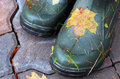 Closeup of pai rubber boots with autumn leaves Royalty Free Stock Images