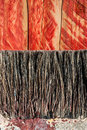 Closeup paint brush bristles background on grunge wood texture Royalty Free Stock Image