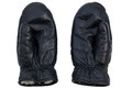Closeup of pair of black leather mittens Royalty Free Stock Photo