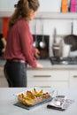 Closeup on pan of baked pumpkin Royalty Free Stock Photo