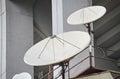 Closeup of parabolic antennas Royalty Free Stock Photo