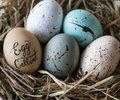 Closeup of pastel easter eggs in the nest Royalty Free Stock Photo