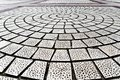 Closeup paving curved circle stone brick on pathway texture, abstract and background concept Royalty Free Stock Photo