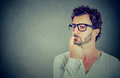 Closeup perplexed preoccupied young man Royalty Free Stock Photo