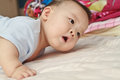 Closeup photo of beautiful cute asian baby s expression Royalty Free Stock Photography