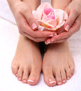 Closeup photo of a beautiful female feet with pedicure Royalty Free Stock Photo