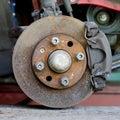 Closeup photo of car disc brakes servicing Royalty Free Stock Photo