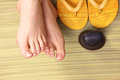 Closeup photo of a female feet at spa salon Royalty Free Stock Photo