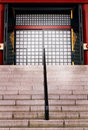 Closeup photo of opening front gate a japanese style temple Royalty Free Stock Photos