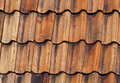 Closeup photo of orange old roof tiling bright Royalty Free Stock Photography