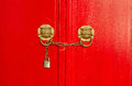 Closeup photo of traditional door and locks Royalty Free Stock Photos