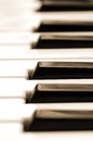 Closeup piano keys sepia tone Stock Images