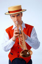 Closeup picture of a man playing on trumpet Stock Photo