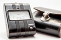 Closeup picture of an old resistance meter with leather case Royalty Free Stock Photo