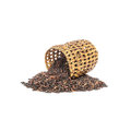 Closeup pile of black rice called riceberry rice with wooden wickerwork rice with high nutrients isolated on white background wit Stock Photos