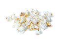 Closeup of pile of popcorns isolated on white background Royalty Free Stock Image
