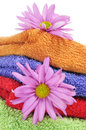 Towels and flowers Royalty Free Stock Photo
