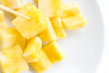 Closeup Pineapple slices on white background Royalty Free Stock Photo