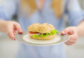 Closeup on plate with sandwich in hand of woman Royalty Free Stock Photo