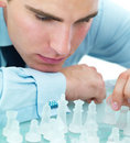 Closeup of playing chess Stock Images
