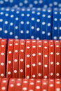 Closeup of poker chip rows Royalty Free Stock Photo