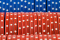 Closeup of poker chip rows Stock Images