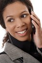 Closeup portrait of afro woman on mobile Royalty Free Stock Photo