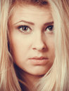 Closeup portrait of attractive blonde woman face Royalty Free Stock Photo